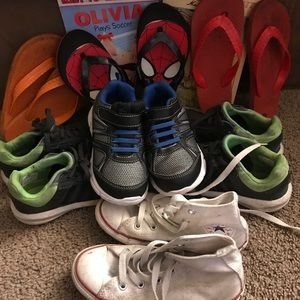 Lot of 7 boys size 11/12 used shoes.